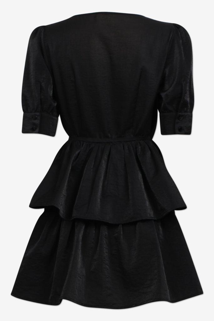 AKIIMA black Mini wrap dress with layered skirt part and short sleeves - back image