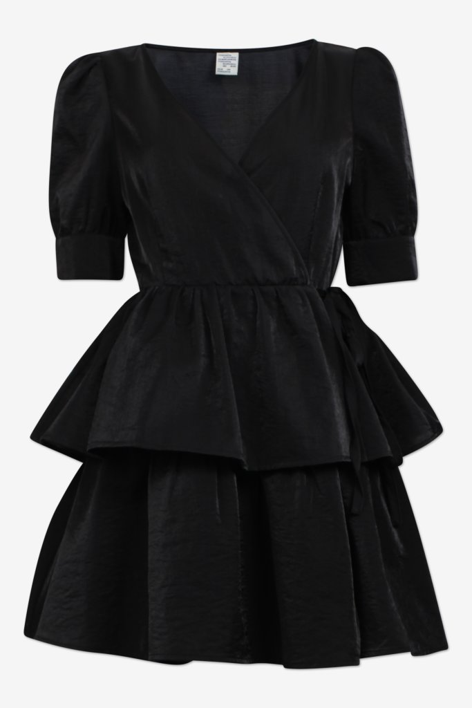 AKIIMA black Mini wrap dress with layered skirt part and short sleeves - front image