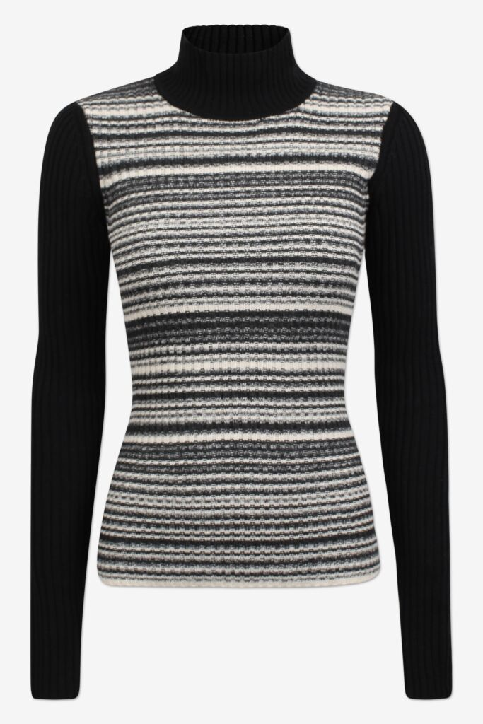 CAMILLE Blackwhite melange Fitted turtleneck with long sleeves - front image