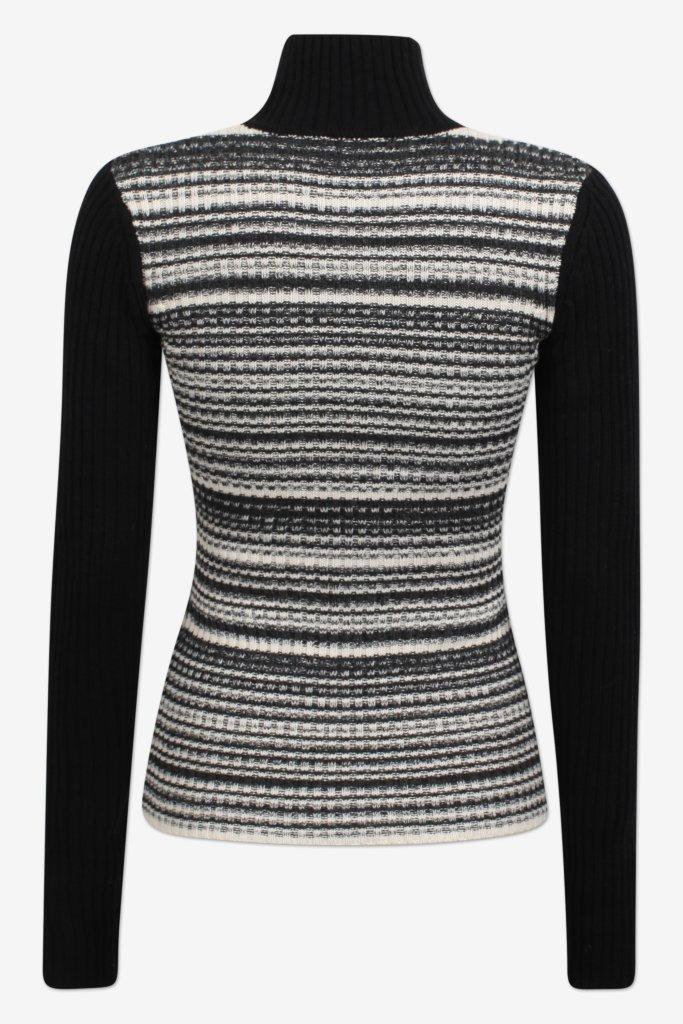 CAMILLE Blackwhite melange Fitted turtleneck with long sleeves - back image